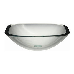Decolav - Translucence Square Glass Vessel Sink in Tran - Manufacturer SKU: 1139T-TCR. 19mm tempered glass. Designed for above-counter use. Without overflow. Easy to clean. Simple to install. Countertop, Faucets and Drains Not Included. 16.5 in. L x 16.5 in. W x 5.5 in. H. Installation Instructions. Cutout TemplateDECOLAV's Translucence Square 19mm Glass Vessel will bring refinement to any decor. The glass vessel will complement any bathroom design.