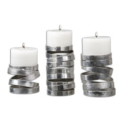 """Uttermost - Uttermost Tamaki Silver Candleholders, Set of 3 19810 - Abstract in design, these candleholders feature a metallic silver finish. Distressed white candles included. Small size: 5""""W x 4""""H x 5""""D, Medium size: 5""""W x 6""""H x 5""""D, Large size: 5""""W x 8""""H x 5""""D."""