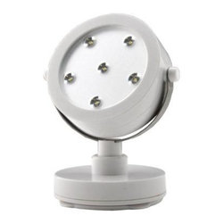 Rite Lite - Rite Lite White 6-LED Spot Light LPL720W - Shop for Lighting & Fans at The Home Depot. Rite Lite spot light has six super bright white LEDs. LEDs last up to 100,000 hours! The spotlight has an adjustable base to swivel left or right and adjustable neck to raise and lower. The light head also swivels to provide ideal lighting exactly where you need it. One touch on/off/dimmer operation - press once for full brightness, press again for softer light and a third time to turn the light off. Use this little spotlight in display cases, kitchens, closets, workshops, garages, bedrooms, or even on your desk.