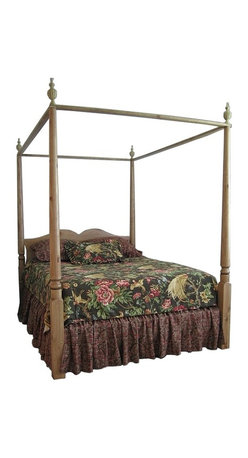 "British Traditions - 4 Poster Canopy Double Bed w Removable Finials (French Grey) - Finish: French Grey. Mattress not included. Each finish is hand painted and actual finish color may differ from those show for this product. Country 4-poster double bed. Removable finials and canopy rails. Comes with four bed slats. Ships unassembled, comes with all necessary hardware. Side Rail to Floor: 10 in. H. Headboard panel to floor 18 in. H. 63 in. L x 85 in. W x 90 in. H (100 lbs.)A handsomely elegant piece with beautifully-detailed finials and finely-proportioned posts. The Windsor Canopy Bed makes a strong decorative statement in the residential bedroom or retail display - perfect for showing linens, pillows and such. This traditional ""tester"" bed may be used with a fabric canopy, but is equally striking without that addition."
