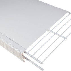 """Help MyShelf Made in USA - 4 Shelf Pantry Kit, White, 16"""" - Help MyShelf™ is the fastest, easiest and most economical way to complete an amazing makeover of your wire shelves. Follow the simple instructions and Help MyShelf™ attaches to your existing wire shelves in minutes, creating an appealing, attractive and more stable shelf."""