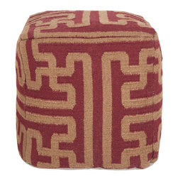 Smithsonian - Smithsonian POUF-51 Cube Pouf - This square pouf is sure to be a conversation piece with it's stylish pattern. Colors of maroon and brown accent this pouf.