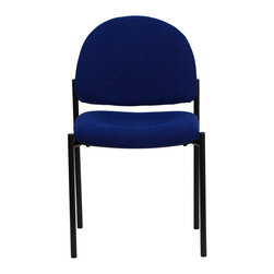 Flash Furniture - Navy Fabric Comfortable Stackable Steel Side Chair - Complete your office or reception area with this stacking side chair by Flash Furniture. The comfortably padded seat and back are provided to make your guests feel at ease while waiting. The steel frame of this chair is strong enough to last for years of use.