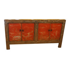 Mortise & Tenon - Malibu Buffet in Vintage Orange - Asian influence. This gorgeous piece is a reproduction of a vintage Asian cabinet. It'll add a pop of color to your interiors, thanks to its orange doors. You can place it just about anywhere – foyer, living room, dining room – as its timeless style fits in well with both modern and traditional settings.