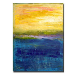 Trademark Fine Art - Michelle Calkins 'Gold and Pink Abstract' Gallery-wrapped Canvas Art - This abstract gallery-wrapped canvas art from Michelle Calkins is a beauty. The vertical painting would look great in many contemporary homes. The blue and gold main colors are accented with subtle shades of pink,red,and green. Measures 24' x 32'.