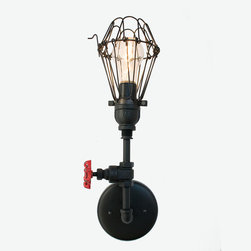 Industrial Pipe Vintage Valve Metal Sconce Light - This is the ultimate collection of industrial wall sconces. Each piece is handmade from rustic plumbing pipe with an upcycled valve accent. Select from a variety of shade options to tweak the design to your aesthetic, lean modern with the hand blown clear shade or go full blown industrial with our cage light.