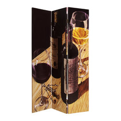 Bordeaux Screen - Wine lovers of the world, take notice! This three-panel screen is a reason to toast your good taste. Beautifully silkscreened with wine images, each side is different so you'll never get bored with the view.