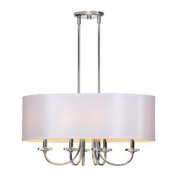 Ren-Wil - Lux 6-Light Ceiling Fixture - This luxurious fixture features a beautiful satin nickel body and chain with crystal accents and wrapped in a sophisticated white silk shade.