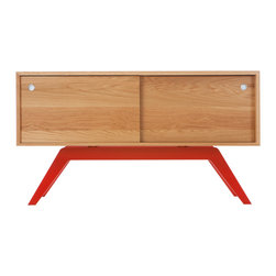Eastvold Furniture - Elko Credenza Small, White Oak, Red Base - This use-anywhere credenza takes midcentury design into the new millenium with sleek lines, ample storage and functionality in a range of colors to fit any taste and decor. Adjustable shelves and wire access hide behind the smooth sliding doors.
