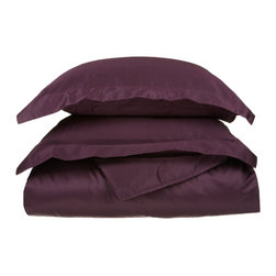 "650 Thread Count Full/Queen Duvet Cover Set Egyptian Cotton Solid - Plum - Woven from 100% Egyptian cotton, these indulgently soft, 650 Thread Count duvet cover set are exquisitely designed and expertly tailored to provide the ultimate night's sleep. Transforming any room to a master suite! These 650 thread count duvets of premium long-staple cotton are ""sateen"" because they are woven to display a lustrous sheen that resembles satin."