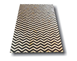 Kaymanta - 6 x 9 Ft. | Black & White Chevron Design, Natural White Hair on Leather Carpet, - Chevron 8 x 10 Ft. | Natural Black & White Hair on Cow Leather Rug