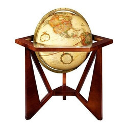 Replogle Globes - Frank Lloyd Wright San Marcos Reproduction 12 Inch Globe - Frank Lloyd Wright inspired globe features a solid hardwood base that is inspired by one of the dining tables in the San Marco resort design. Comes with an antique ocean finish and walnut stand for your desk top. Uniquely designed with hexagonal top and striking angles. Diameter: 12 in.. 22 in. L x 18 in. W x 22 in. H (5.1 lbs.)In 1928, Frank Lloyd Wright began creating a major remodeling project of the San Marcos resort in the Desert Hotel on the outskirts of Phoenix. The project was never completed due to the 1929 stock market crash, but the building design and the interior renderings contain a variety of interesting furniture and decorative features. This adapted globe stand showcases the 60 degree angled legs and the hexagonal top of a small accent table designed for the totally new special Dining Pavilion bordered by the garden terraces of the San Marcos in the Desert Hotel, Chandler, Arizona.