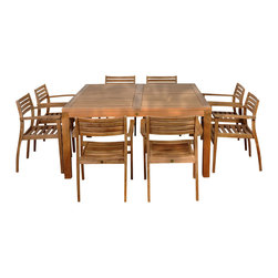 International Home Miami - Amazonia Teak Victoria 9-Piece Teak Square Dining Set - Great Quality, elegant design patio set, made of 100% high quality teak wood. Enjoy your patio with style with these great sets from our Amazonia Teak outdoor collection