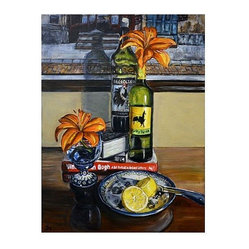 """Wine Bottles and Flowers: Polish Pottery LX"" by Heather Sims"