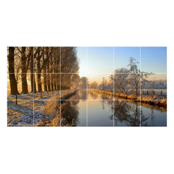 Picture-Tiles, LLC - Lake River Photo Wall Back Splash Tile Mural  18 x 36 - * Lake River Photo Wall Back Splash Tile Mural 1779