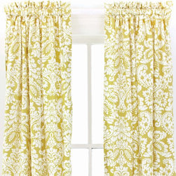 Pine Cone Hill Imperial Damask Citrus Window Panel - Damask citrus panels blend contemporary color with traditional design. This summery mix is sure to brighten any window. I think they would look fantastic in a guest bedroom.