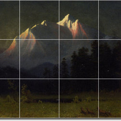 Picture-Tiles, LLC - Western Landscape Tile Mural By Albert Bierstadt - * MURAL SIZE: 18x24 inch tile mural using (12) 6x6 ceramic tiles-satin finish.