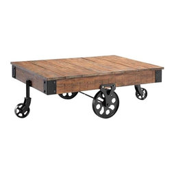 Industrial Maison Coffee Table - The wheels and the wagon design bring a rustic feel into the home. You can use some bold decorative pieces on here to make the colors really pop.