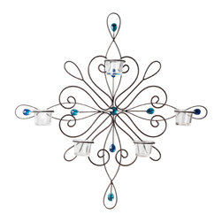Elements - Elements 23-inch 5-tealight Blue Gem Sconce - This Elements 5-tealight blue gem sconce is a stunning focal piece for any wall in your home. Both decorative and functional, it features a lovely wire frame and scroll design adorned with blue gems, creating a stunning shimmering visual.