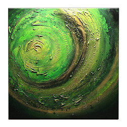 Matthew's Art Gallery - Oil Painting Abstract Modern Contemporary Art on Canvas Green Vortex - The Painting: