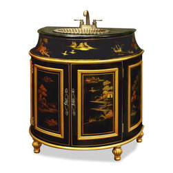 """China Furniture and Arts - French Commode Vanity Cabinet - Exotic gold highlighted Chinese landscape scenery is hand-painted in Chinoiserie motif on our French-inspired vanity. The sink is interestingly sculpted like a shell. A rich style that changes everyday living into art. Ready to install with built in black granite top, patina brass sink, and the brass faucet. (Counter top approximately 32""""W x 20""""D.) Then interior compartment measures 33""""W x 22.25""""D x 26""""H. Please see matching mirror Part No. MMI04YBM-WG."""