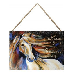 """Westland - """"Live Beautifully and Dream�"""" Hanging Wall Art Canvas with White Horse - This gorgeous """"Live Beautifully and Dream�"""" Hanging Wall Art Canvas with White Horse has the finest details and highest quality you will find anywhere! """"Live Beautifully and Dream�"""" Hanging Wall Art Canvas with White Horse is truly remarkable."""