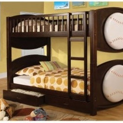 Furniture of America Baseball Twin over Twin Bunk Bed with Storage Drawers - The Furniture of America Baseball Twin over Twin Bunk Bed with Storage Drawers is perfect for building team camaraderie for kids sharing a room. The fun baseballs add some personality to the beds and the storage drawers add a good measure of functionality.About Furniture of America Based in California, Furniture of America has established itself as a premier provider of fine home furnishings. The people behind Furniture of America brand are moved by passion, hard work, and persistence. They are always striving to design the latest piece, keeping in mind their mission to make quality furniture available to urban-minded shoppers, without compromising the packaging integrity.Furniture of America offers unique, coordinated, and affordably designed furniture; they are a one-step resource for high-quality furniture with secure and professional packaging in the furniture industry.