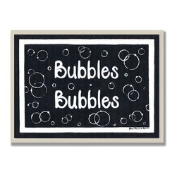 Stupell Industries - Bubbles Bubbles Black and White Wall Plaque - Made in USA. Ready for Hanging. Hand Finished and Original Artwork. No Assembly Required. 15 in L x .5 in W x 10 in H (2 lbs.)Made in USA! Point your guests in the right direction with elegant bathroom plaques from The Stupell Home decor CollectionEach plaque comes with a sawtooth hanger for easy installation on bathroom doors or walls.