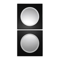 Uttermost - Uttermost 8118 Girard Black Glass Square Accent Wall Mirrors - Set of 2 - Beveled Black Glass w/ Painted Black Edges