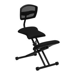 Flash Furniture - Ergonomic Kneeling Office Chair in Black - 2 in. thick padded seat and knee rest. Fabric upholstered seat and knee rest. Adjustable height. Black steel scissor frame. Warranty: 2 year limited. Assembly required. Back: 13 in. W x 15 in. H. Seat: 15.5 in. W x 13.5 in. D. Seat Height: 19.5 - 27 in.. Overall: 30 in. W x 17 in. D x 35.5 - 41.5 in. H (24 lbs.)
