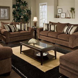 American Furniture - 4 Pc Upholstered Sofa Set (Chocolate) - Color: ChocolateCannot be shipped to California - not compliant with CA code. Set includes chair, loveseat, sofa, ottoman and pillows. Upholstered. Pictured in Chocolate. Dimensions:. Chair: 45 in. W x 65 in. D x 45 in. H. Loveseat: 74 in. W x 45 in. D x 45 in. H. Sofa: 100 in. W x 45 in. D x 45 in.. Ottoman: 52 in. L x 30 in. W x 21 in. H