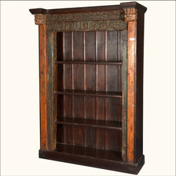 """French Gothic Reclaimed Wood 4-Shelf Open Display Bookcase - Bring gothic grandeur home with our French Gothic 4-Shelf Bookcase. This classic open display cabinet is 80"""" tall and 56"""" wide."""