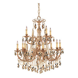 Crystorama - Crystorama Etta Collection 2 Tier Chandelier in Olde Brass - Shown in picture: Ornate Cast Brass Chandelier Accented with Golden Teak Wood Polished Crystal; This fixture from the Etta Collection takes an ornate cast brass frame - finishes it in Olde Brass and adorns it with sparkling crystal accents to really make it stand out in any room.