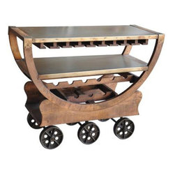 YOSEMITE HOME DECOR - Wine Rack - Wine anyone? This truly unique wine cart adds fun to any occasion. A solid mango frame supports two metal shelves and storage space for wine bottles and stemware. All resting on six large cast iron wheels. Assembled, made in India.