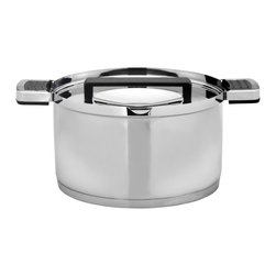 """Berghoff - Berghoff Neo Covered Casserole, 8"""" - 8"""" covered casserole is part of a award winning designer line; modern and functional design. Pouring off liquid while the cover remains on the pot is possible thanks to the special holes in the rim of the cover and the cookware's practical pouring spout.  Suitable for all heat sources including induction. Durable 18/10 stainless steel construction with black Bakelite handles."""