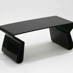 Modway - Acrylic Rectangle Coffee Table With Magazine Holder In Black - Eei-562-