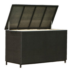 Great Deal Furniture - Outdoor Patio Large Wicker Storage Ottoman - Store your patio cushions or pool toys in style. This handsome black storage box is made from weather resistant wicker and features wheels for easy movement. Classy and functional, this is one piece no backyard should be without.
