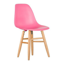 Shaker Slope Chair in Pink - Our Shaker Slope Chair puts a new spin on one of our most iconic designs. Featuring the same smooth polypropylene seat as our Mid-Century Slope Chair, this classic piece features a traditional leg design comprised of four connecting dowels. Juxtaposing an ultra-modern seat with a traditional base creates for a unique, contemporary design. The Shaker Slope Chair is still conisdered an inspired design, inspired by a manufacturing process of the mid-20th century. The original was born out of technological advancements that allowed a chair to be constructed out of a single mold. With the original no longer in production, today's designers have improved the process even further, resulting in a comfortable, stylish lightweight chair. We see this chair fitting in at home, in the office, or anywhere you need an extra seat. Available in a variety of vibrant colors, use it to add a spark of personality and style to your room of choice today.