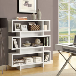 "Monarch Specialties - White Hollow-Core 55""H Modern Bookcase - This modern, rich white finished bookcase has a plenty of space for displaying pictures, decorative pieces and books. This piece features a modern square design, three tiers for storage, and a hollow core wood construction. Designed by Monarch Specialties."