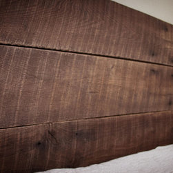 Reclaimed Oak Headboard - This reclaimed solid oak headboard is custom made by Wabash Lumber Co.  Headboard is 49 inches tall and can be ordered in Queen and King (+$100)  size. Features five rough sawn antique oak boards, reclaimed in Benton County, Indiana. Add character and charm to your bedroom with ease.  Simply bolt to your existing bed frame. Aaron Hubner