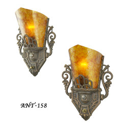 Pair of Antique Restored Art Deco Wall Sconces (ANT-158) - Truly unusual Art Deco Pair of sconces.  Different from the normal slip shade sconces that were made during the 20's and 30's as it has more scrolls and details.