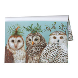 Hester & Cook Design Group - Winter Owls Paper Placemat - Design is from an original Vicki Sawyer painting.