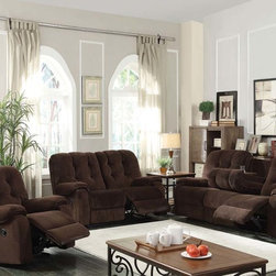 Chocolate Champion Reclining Sofa Couch Loveseat Recliner Cup Holder - The Nailah collection group makes a great style and appeal for any living room. Features selected champion fabric seating with high back button-tufted cushion for years to come.