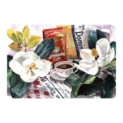 Caroline's Treasures - Coffee Time Kitchen Or Bath Mat 20X30 - Kitchen or Bath COMFORT FLOOR MAT This mat is 20 inch by 30 inch.  Comfort Mat / Carpet / Rug that is Made and Printed in the USA. A foam cushion is attached to the bottom of the mat for comfort when standing. The mat has been permenantly dyed for moderate traffic. Durable and fade resistant. The back of the mat is rubber backed to keep the mat from slipping on a smooth floor. Use pressure and water from garden hose or power washer to clean the mat.  Vacuuming only with the hard wood floor setting, as to not pull up the knap of the felt.   Avoid soap or cleaner that produces suds when cleaning.  It will be difficult to get the suds out of the mat.