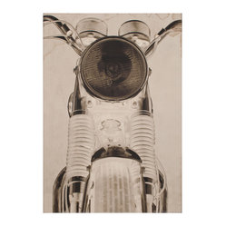 Kathy Kuo Home - BSA Motorcyle Front View Industrial Loft Photo Wall Art - Unframed - Add a little vroom vroom to your room with this stylish negative print of a motorcycle. This sleek machine is shot in a sepia tone that will give your decor a vintage feel, and an Easy Rider cool. This cropped chopper photo is available framed or unframed.