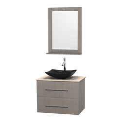 """Wyndham Collection - Centra 30"""" Grey Oak Single Vanity, Ivory Marble Top, Arista Black Granite Sink - Simplicity and elegance combine in the perfect lines of the Centra vanity by the Wyndham Collection. If cutting-edge contemporary design is your style then the Centra vanity is for you - modern, chic and built to last a lifetime. Available with green glass, pure white man-made stone, ivory marble or white carrera marble counters, with stunning vessel or undermount sink(s) and matching mirror(s). Featuring soft close door hinges, drawer glides, and meticulously finished with brushed chrome hardware. The attention to detail on this beautiful vanity is second to none."""