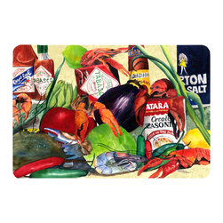 Caroline's Treasures - Spices And Crawfish Kitchen Or Bath Mat 24X36 - Kitchen or Bath COMFORT FLOOR MAT This mat is 24 inch by 36 inch.  Comfort Mat / Carpet / Rug that is Made and Printed in the USA. A foam cushion is attached to the bottom of the mat for comfort when standing. The mat has been permenantly dyed for moderate traffic. Durable and fade resistant. The back of the mat is rubber backed to keep the mat from slipping on a smooth floor. Use pressure and water from garden hose or power washer to clean the mat.  Vacuuming only with the hard wood floor setting, as to not pull up the knap of the felt.   Avoid soap or cleaner that produces suds when cleaning.  It will be difficult to get the suds out of the mat.