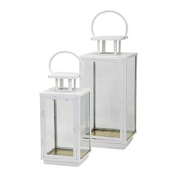 IMAX - Essentials Celebrations Lantern - Set of 2 - The bottom of these glossy white metal and glass lanterns from the Celebrations Collection by Connie Post feature a gold leaf finish to amplify the light-enhancing power of the pair. Add pillar candles and let the light shine! Set of two.