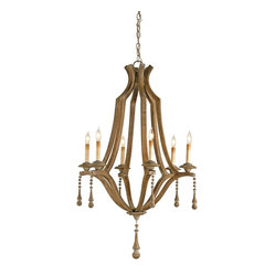 Currey and Company - Simplicity Chandelier - The Simplicity Chandelier is just that: A simple handsome shape embellished with just the right amount of decorative trim and the result is an outstanding design. The wood is given a Washed Wood finish that is totally in keeping with the design and materials used.