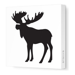 """Avalisa - Silhouette - Moose Stretched Wall Art, 12"""" x 12"""", Black - This mod moose silhouette captures the spirit of the forest in chic, contemporary style. Create an ensemble of forest friends with moose, bear and squirrel silhouettes or let one extra-large moose print cast its magnificent presence over the room. Include some trees or other nature-inspired elements in the room to make your moose feel at home."""